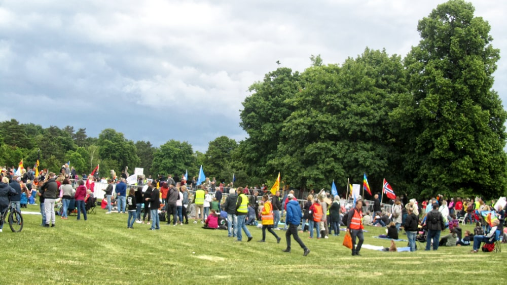 Demo auf dem Golfplatz in Leonberg